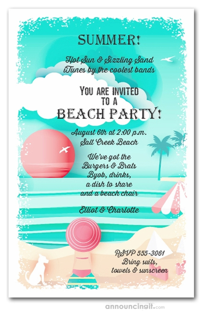 View on the Beach Party Invitations