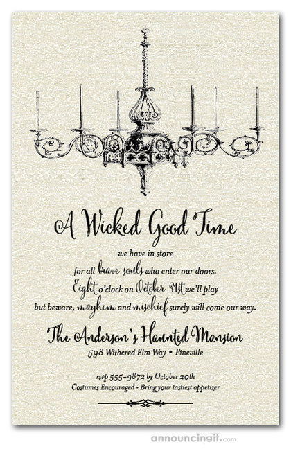 Halloween Chandelier Shimmery Invitations
