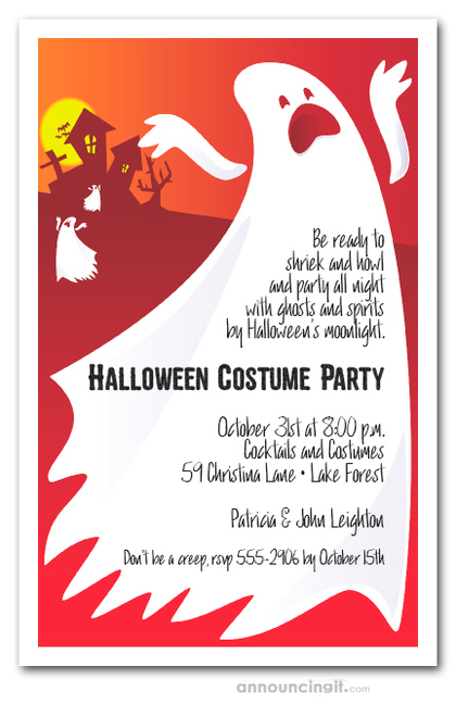 Wailing Ghosts Halloween Invitations
