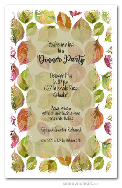 Watercolor Autumn Leaves Party Invitations