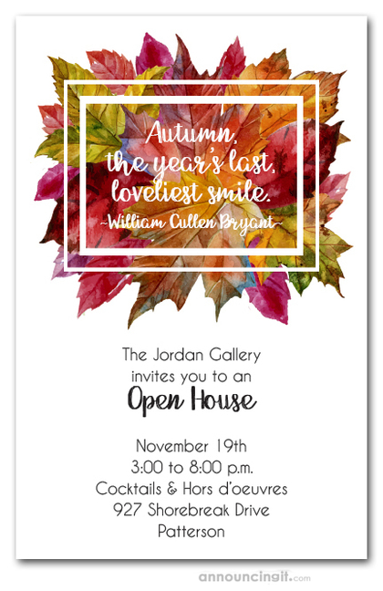 bright autumn leaves wreath fall party invitations