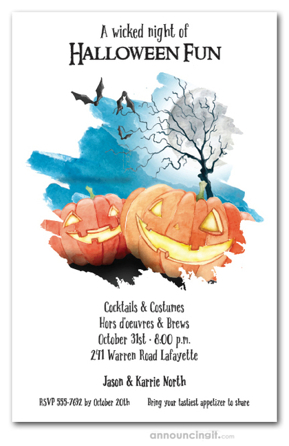 Watercolor Pumpkins and Bats Halloween Party Invitations