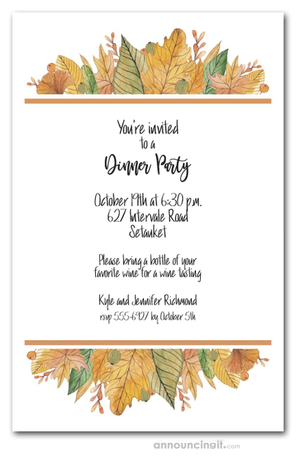 Watercolor Fall Leaves Border Party Invitations
