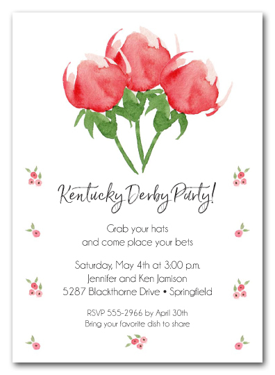 Watercolor Red Roses Party Invitations