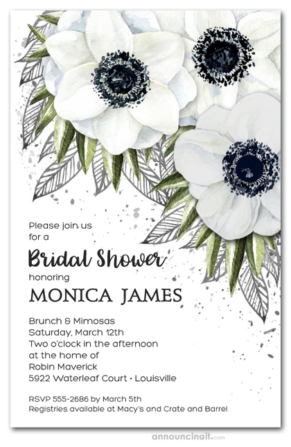 White Anemone Floral Bridal Shower Invitations