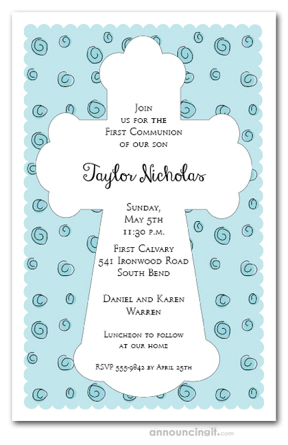 White Cross on Blue Curls Invitations