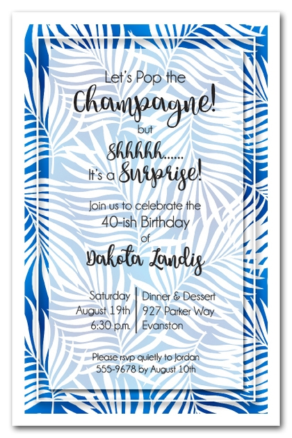 White Palms on Blue Invitations