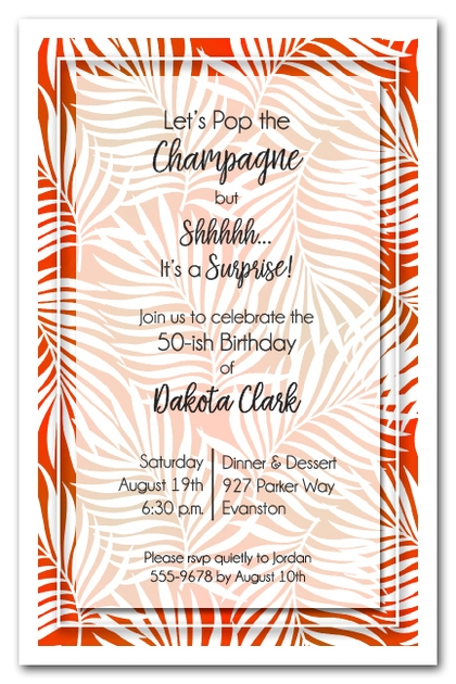 White Palms on Orange Invitations