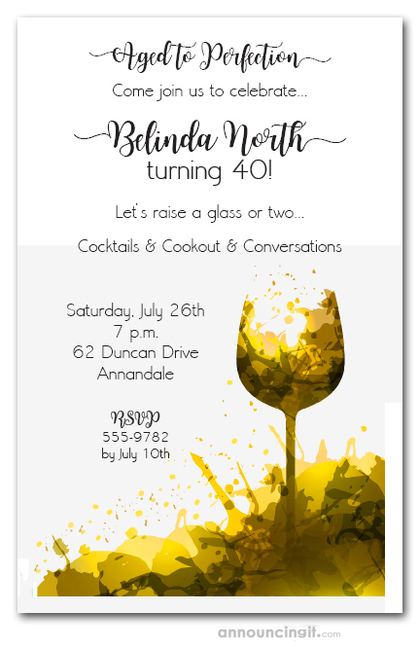 White Wine Glass Splash Invitations