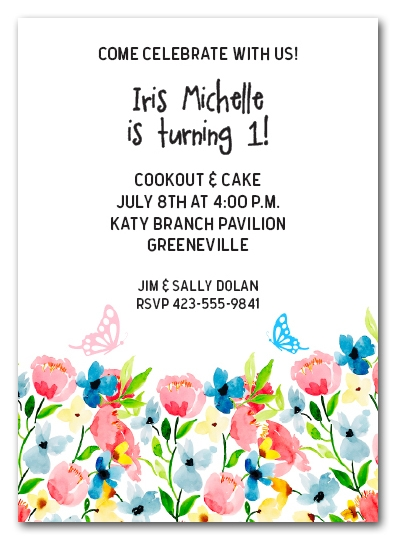 Wild Flowers and Butterflies Invitations