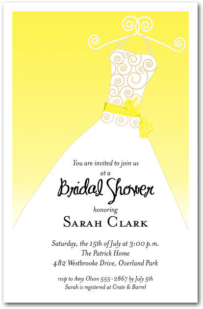 Yellow ribbon sash on white gown invitations bridal for Yellow bridal shower invitations