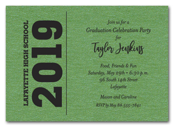 Bold Year Shimmery Green Graduation Invitations