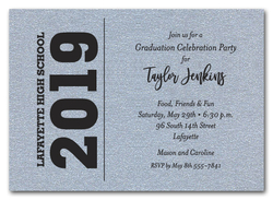 Bold Year Shimmery Silver Graduation Invitations