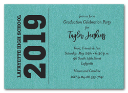 Bold Year Shimmery Turquoise Graduation Invitations