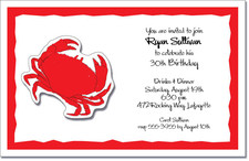 Red Crab Party Invitations
