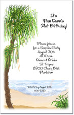 Feathered Palm on the Beach Invitations