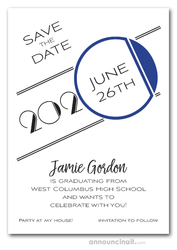 Art Deco Navy Graduation Save the Date Cards