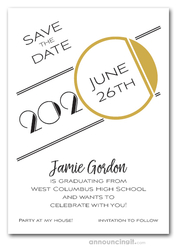 Art Deco Gold Graduation Save the Date Cards