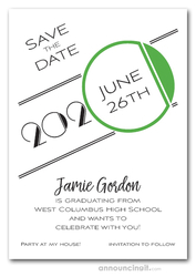Art Deco Green Graduation Save the Date Cards