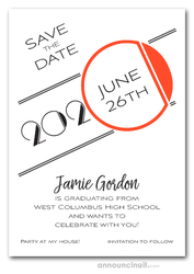 Art Deco Orange Graduation Save the Date Cards