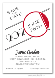 Art Deco Red Graduation Save the Date Cards