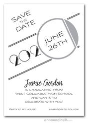 Art Deco Silver Graduation Save the Date Cards