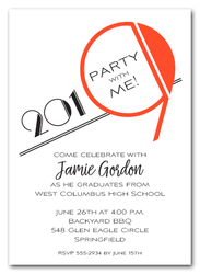 Art Deco Orange 2019 Graduation Party Invitations