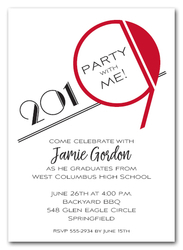 Art Deco Red 2019 Graduation Party Invitations