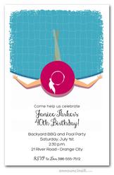 Lady in the Pool Party Invitations