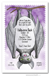 Halloween Bat Party Invitations