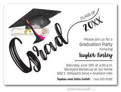 Black and Pink Tassel on Black Cap Graduation Party Invitations