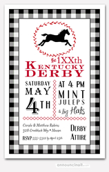 Horse and Black Check Derby Party Invitations