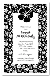 Aloha Black & White Hibiscus Invitations