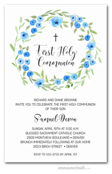 Blue Blooms Wreath Communion Invitations