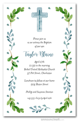 Blue Cross Leaves Buds Communion Invites