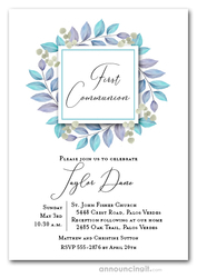 Leaves Blue First Communion Invitations