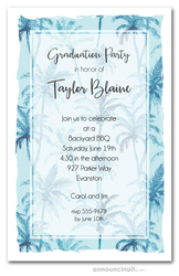 Blue Palm Trees Graduation Party Invitations