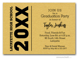 Bold Year Shimmery Gold Graduation Invitations