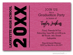Bold Year Shimmery Hot Pink Graduation Invitations