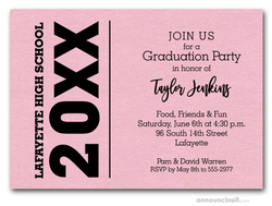 Bold Year Shimmery Pink Graduation Invitations