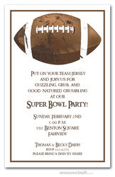 Brown Grunge Football Super Bowl Invitations