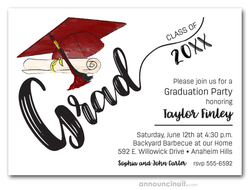 Burgundy & Black Tassel on Burgundy Cap Graduation Invites