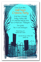 Cemetary Shadows Halloween Party Invitations