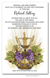 Chalice Grapes Wheat Communion Invites