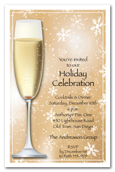 Champagne on Gold Snowflakes Party Invitations