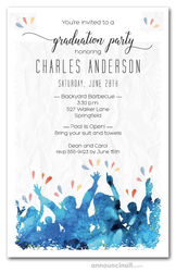 Cheering Crowd Graduation Party Invitations