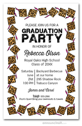 Cheetah Cap & Pink Tassel Graduation Invitations