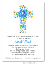 Cross of Flowers Blue First Communion Invitations