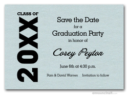 Shimmery Aqua Graduation Save the Date Cards