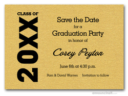 Shimmery Gold Graduation Save the Date Cards